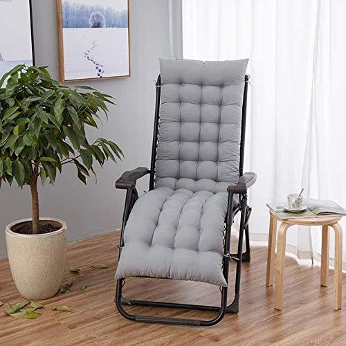 Cojín para silla de sol cojines de silla mecedora cojines al aire libre interior jardín terraza tumbona cojines 155 * 48 gris