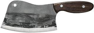 Feuille Couteau de boucher durable 7.5 pouces Fendoir main Couteau en acier forgé robuste Lame Full Tang Poignée outil de ...