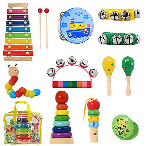 CYY Musical Instrument Toys for Toddlers,Baby Learning Music Sets,Wood Xylophone&Percussion Instruments for Children,Preschool Educational for Kids, A Great Birthday Gifts for Boys or Girls