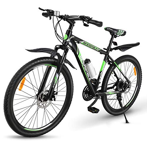 BESPORTBLE Mountain Bike 21 Speeds with Aluminum Frame Suspension Fork Bike with Derailleur System Mechanical Disc Brakes