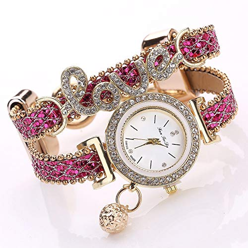 MDYH PTTCC AYSMG Alloy Diamond Love Letter Bracelet Watch for Mujeres (Negro) (Color : Rose Red)