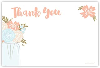 Mason Jar Floral Thank You Cards (20 Count) - Bridal Shower, Birthday, Any Occasion