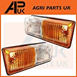 2 x Front Indicator Side Lights Lamp Compatible with Fiat 766 880 980 100-90 Case AVJ VJ Tractor
