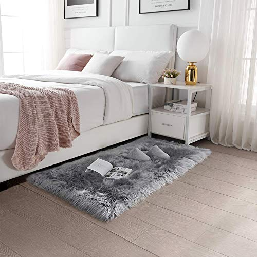 Alfombra de Lana Artificial QUANHAO Alfombra de Piel de Oveja de Lana Artificial Alfombra para niños Sala de Estar Dormitorio baño sofá cojín (Gris, 60x100cm)