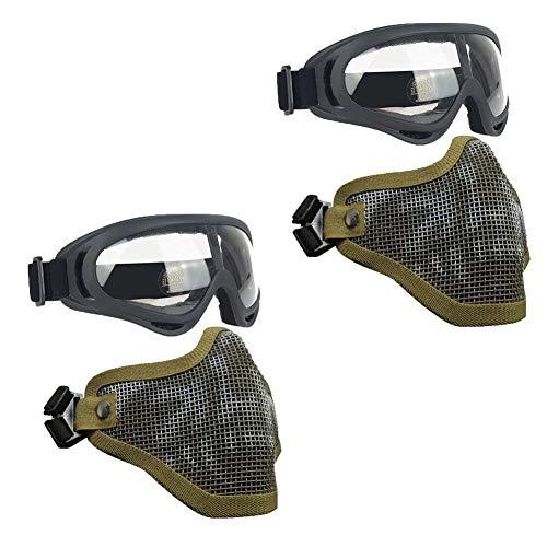 QPFH Máscaras de Airsoft, Media Metal de Acero del Acoplamiento de la mascarilla del Estilo Militar cómodo y Ajustable UV400 Gafas Conjunto para la Caza, Paintball, Tiro,Verde
