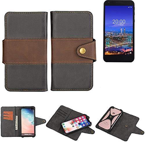 K-S-Trade® Handy-Hülle Schutz-Hülle Bookstyle Wallet-Case Für -Vestel 5530- Bumper R&umschutz Schwarz-braun 1x