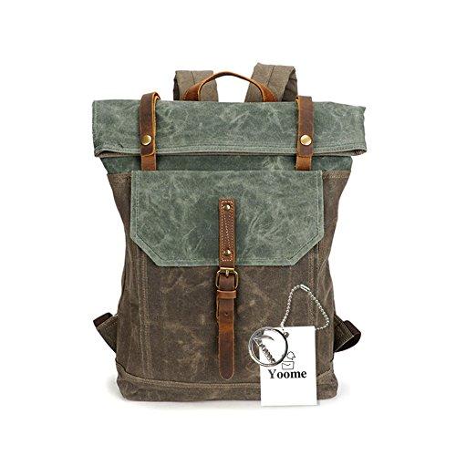 Yoome 15,6 Zoll Laptoptasche Leinwand Vintage Rucksack Leder Casual Bookbag Männer Rucksack Schultasche...