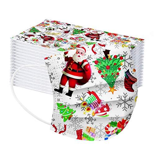 Rameng 15/25/35/45/55PCS Niños Protección Desechable para Impresión navideña Transpirables con Elástico para Los Oídos