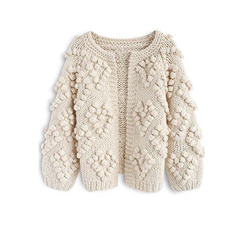 Chicwish Women's Soft Heart Shape Balls Hand Knit Open Front Ivory Cardigan
