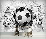 Fototapete Tapete ForWall 3D Fußbälle in der Ziegelwand AF3383P8 (368cm x 254cm) Photo Wallpaper Mural