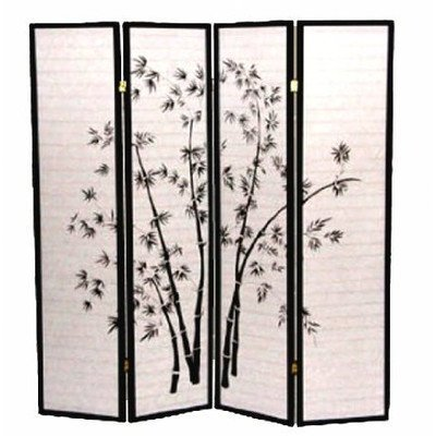 adf 4-Panel Bamboo Shoji Screen with Black Frame by