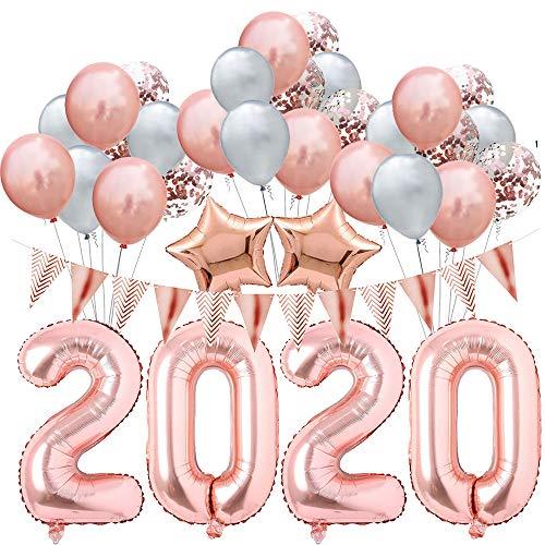 BHSTAR 2020 Nuevo Años Víspera Fiesta Suministros 32 Pulgadas 2020 Globo Rosa Oro Globos Conjuntos para 2020 Graduación Decoración