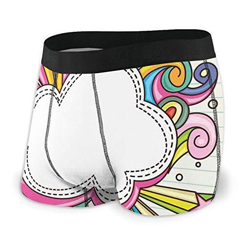 Herren-Boxershorts, bunte Retro-Stil, Schuppen-inspiriertes Wellenmuster, überlappende Kreise, Punkte, Fliesen Gr. X-Large, Farbe 2