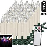 30 LED Weihnachtsbaumkerzen Kabellos Inkl. Batterien Bunt Fernbedienung Timerfunktion Flackern Dimmbar Weihnachtskerzen