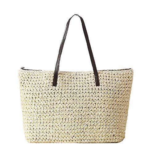 TININNA femmes été élégant simple sac de plage sacs de paille loisirs vacances sac à bandoulière sac fourre-tout de voyage (beige)