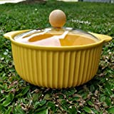 ISP Porcelain Casserole with Glass Lid Serving Bowl/Tureen with Glass Lid in Glass (Microwave Safe) (750 ml) Serving Capacity-02 Persons (Yellow)