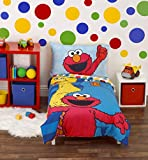 Sesame Street Best Friends Blue, Red, Yellow 4Piece Toddler Bed Set - Comforter, Fitted Bottom Sheet, Flat Top Sheet, Reversible Pillowcase, Blue, Red, Yellow, Green