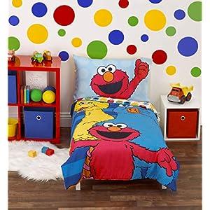 Sesame Street Best Friends Blue, Red, Yellow 4Piece Toddler Bed Set – Comforter, Fitted Bottom Sheet, Flat Top Sheet, Reversible Pillowcase, Blue, Red, Yellow, Green