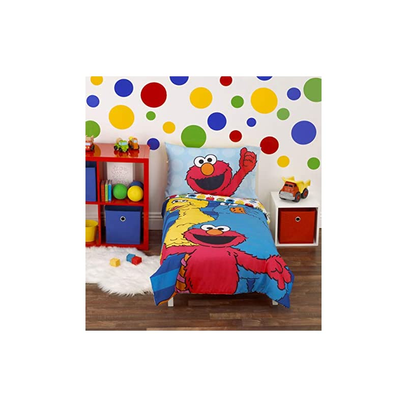 crib bedding and baby bedding sesame street best friends blue, red, yellow 4piece toddler bed set - comforter, fitted bottom sheet, flat top sheet, reversible pillowcase, blue, red, yellow, green