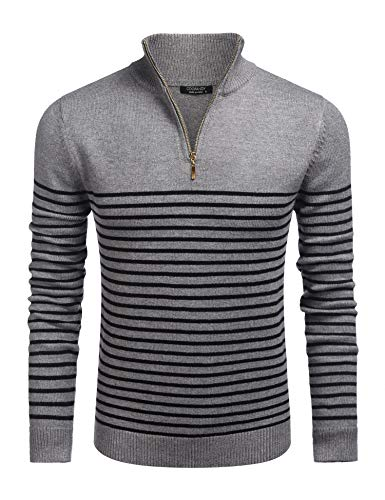 COOFANDY Baumwollpullover Herren Winterkleidung gestreifter Pullover vertikale Krawatte Reißverschluss lässig Pullover Männer