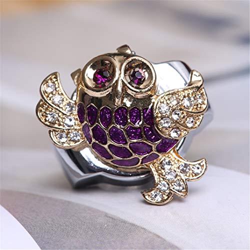 La bague de coquille de montre de diamant de hibou de diamants colorés montre la montre, la bague de montres de doigt de bracelet extensible réglable de belle hibou,purplegold