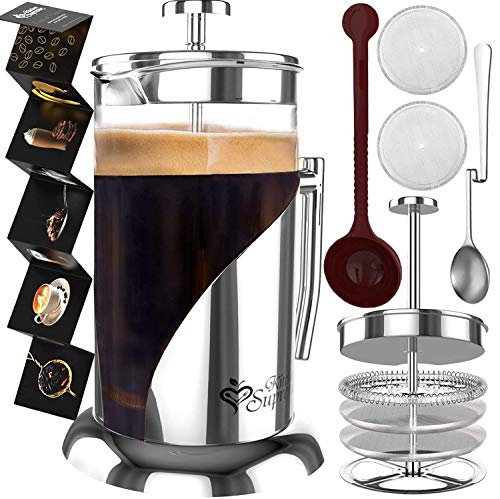 French Press Coffee Maker - BEST Presses Makers - 34 Oz, 8 Cup - The Only Encapsulated Lid Stainless...