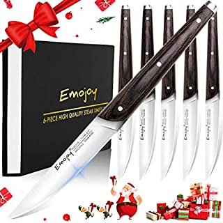 Steak Knives, Emojoy 6-Piece Non Serrated Steak Knife Set Pakkawood Handle Triple Rivet..