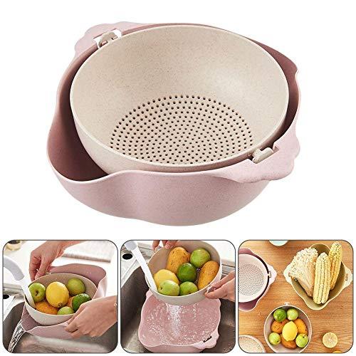 Delleu Obstsieb, 2-in-1-Gemüsewaschkorb, große Plastiksiebschale, automatische Abflusssiebschale, geeignet für Küchen, professionelle Filter und Siebe