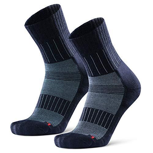 Calcetines de Running Merino Booster, para Hombres y Mujeres, Anti-ampollas, Antihumedad, Acolchados, Calcetines Deportivo (Multicolor (1 x Azul Marino/Turquesa, 1 x Azul Marino/Azul Claro), EU 35-38)