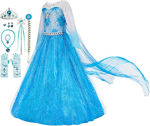 Frozen Party Dress Set Elsa Blue fancy gift wand crown tiara gloves gift silver