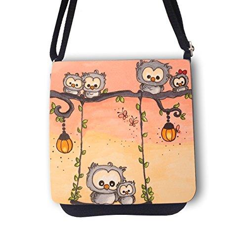 ilka parey wandtattoo-welt Schultertasche Handtasche Tasche mit Eulen Schmetterlinge Mädchentasche Umhängetasche mit Eule kt70