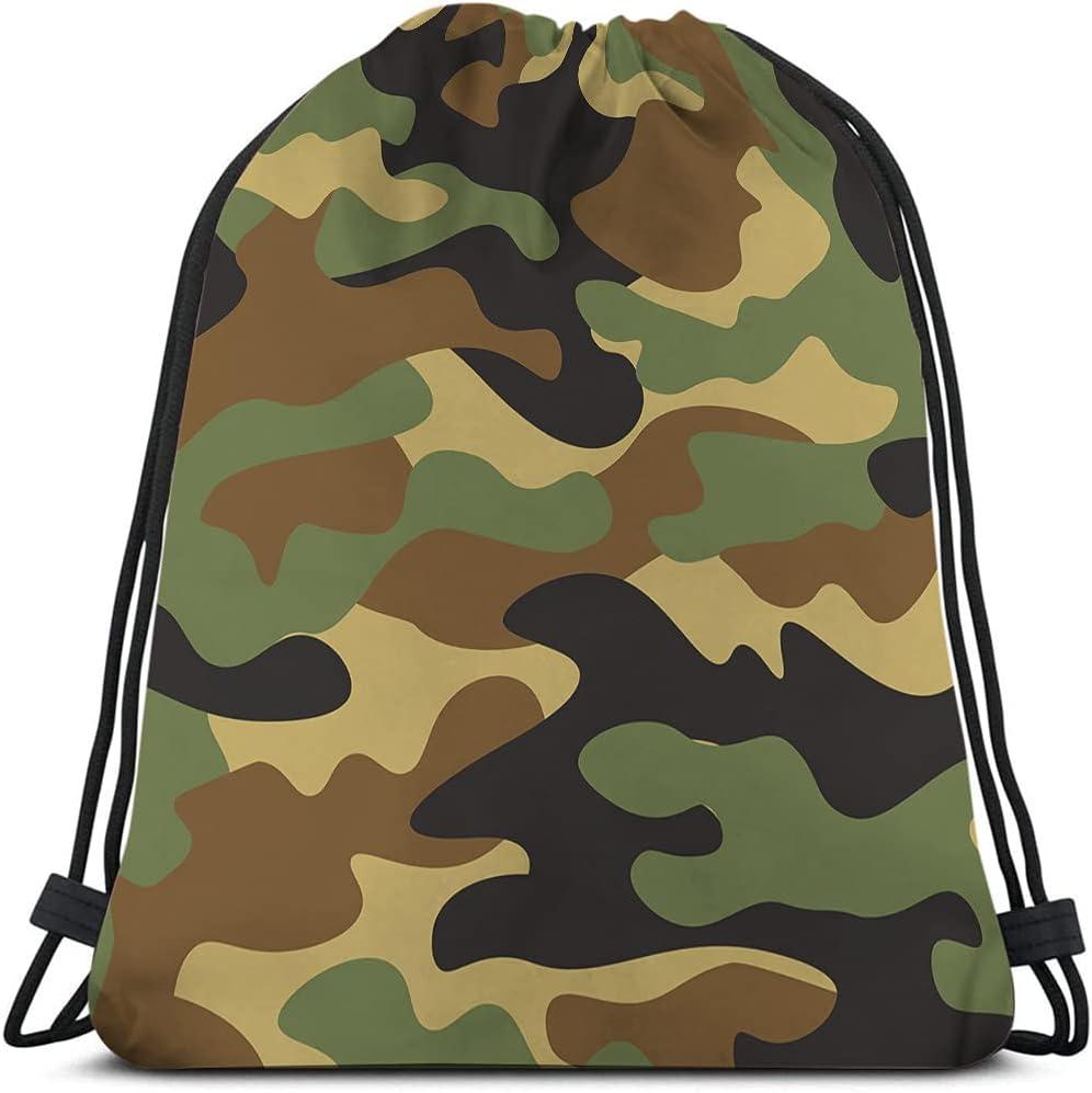 Excellent Beabes Camouflage Pattern Drawstring Bags Backpack Bag Bro Over item handling ☆ Green
