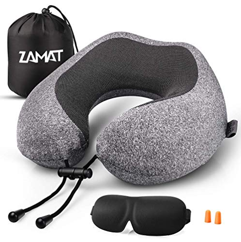 ZAMAT Memory Foam Travel Pillow, 360°Support Neck Pillow for Airplane Travel, Adjustable Compact...