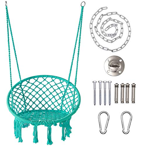 LAZZO Round Hammock Chair with Hanging kit, Hanging Knitted Mesh Cotton Rope...