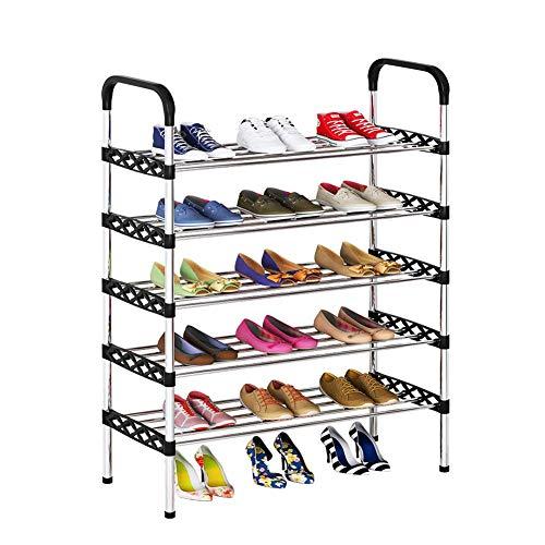 BBGSFDC Zapatero, de 5 Capas múltiples Funciones del Estante del Zapato del hogar, Ahorro de Espacio, fácil de Montar, Zapato Ajustable en Rack Que Puede acomodar a 15 Pares de Zapatos