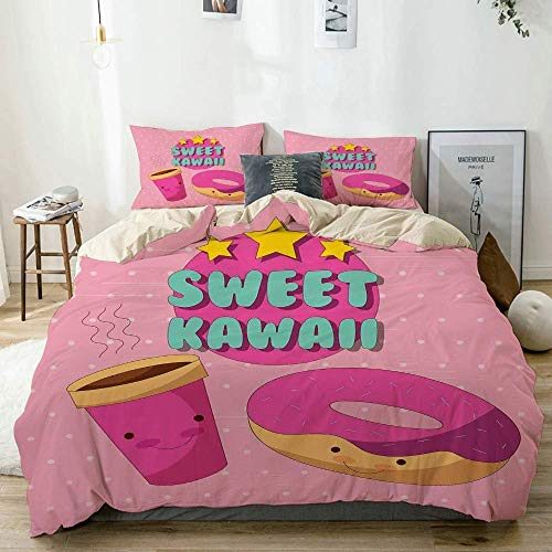 Juego de fundas nórdicas Beige, dulce letras kawaii con donut y café Personajes de dibujos animados sonrientes Fondo rosa, juego de cama decorativo de 3 piezas Tamaño doble con 2 fundas de almohada Cu