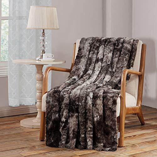 Viviland Manta de Tiro de Piel sintética, Manta de Lujo de Felpa Suave Shaggy Fleece, Lavable a máquina, Gris, 230cm×230cm