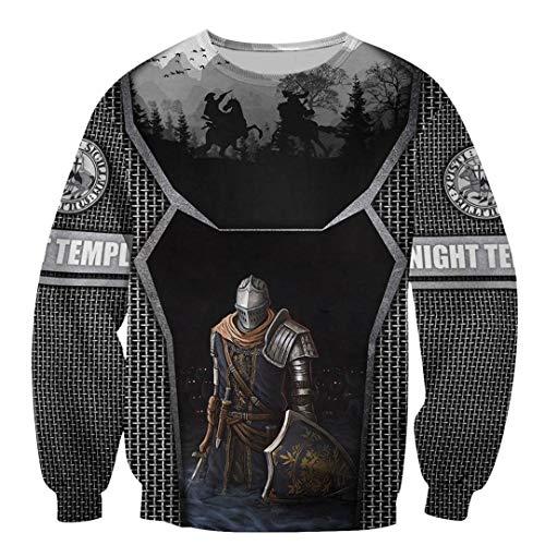 TN-KENSLY Caballeros Templarios Jesús Dios Guardia Cavalier Otoño Pullover Streetwear Impresión 3D Cremallera/Sudaderas Sweatshirts L