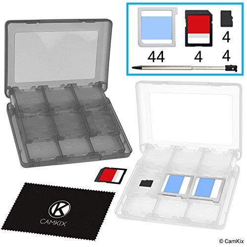 CAMKIX 2X aufbewahrungsbox kompatibel mit Nintendo 3DS Spiele - Passend für bis zu 44 Spiele, 4 SD Karten, 4 Micro SD / TF Karten und 4 Stylus Stifte - Schützendes Aufbewahrungssystem