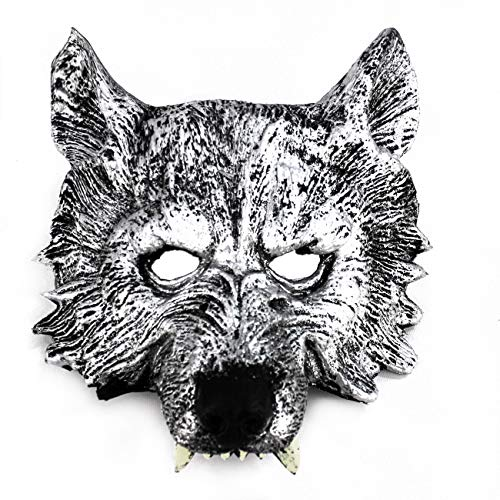 FUREIN Mascara de Lobo Careta Cosplay Fiesta Halloween Carnaval (Plata)