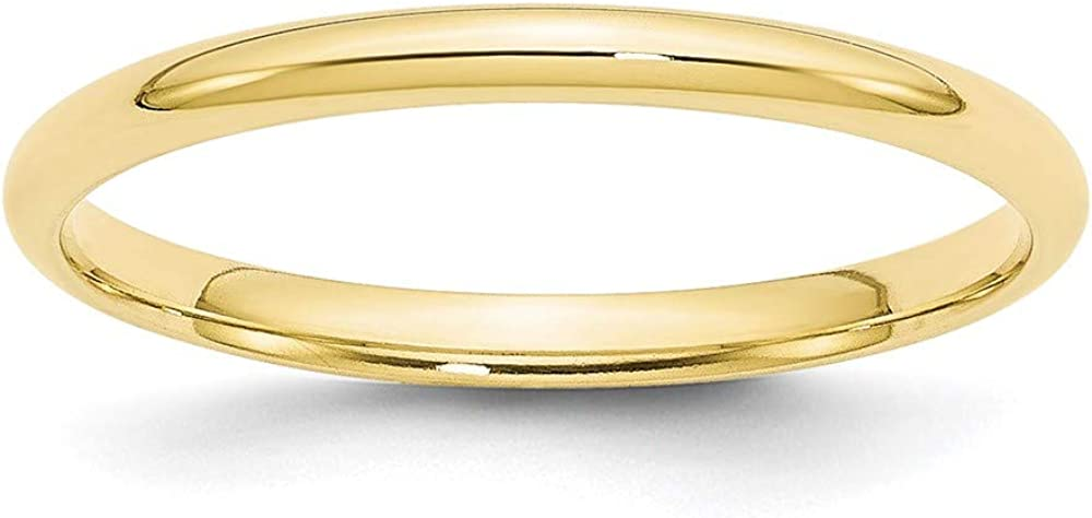 10k Yellow Gold 2mm Comfort Fit Wedding Ring Band Size 10.5 Classic Fine Jewelry For Women Gifts For Her