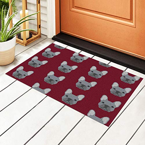 antcreptson Frenchie French Bulldog Welcome Outdoor Door Mat, Indoor Entrance Non-Slip Doormats, Outside Patio PVC Rug Pad, Mesh Dirt Mud Trapper