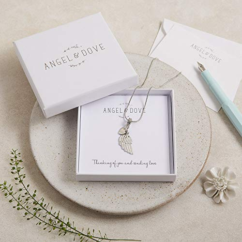 Angel's Wing & Heart Necklace - A Thoughtful Sympathy Gift with Luxury Gift Bag & Card