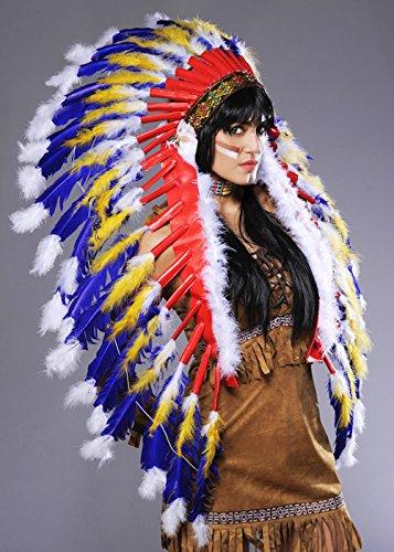 Coiffe de plumes bleu chef indien