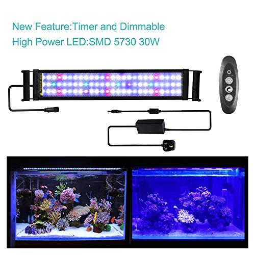 JOYHILL LED-Aquarienleuchten mit Timer, dimmbare, superhelle LED-Aquarienleuchte für Korallenwasserpflanzen, Vollspektrum für 24-Zoll-Aquarien