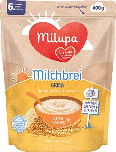 Milupa Milchbrei Grieß Guten Morgen ab dem 6. Monat, 4er Pack (4 x 400 g)  155127