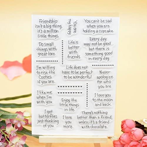 Welcome to Joyful 1pcs Thinking of You Sentiment Clear Stamp for Card Making Decoration and Scrapbooking 11x15cm