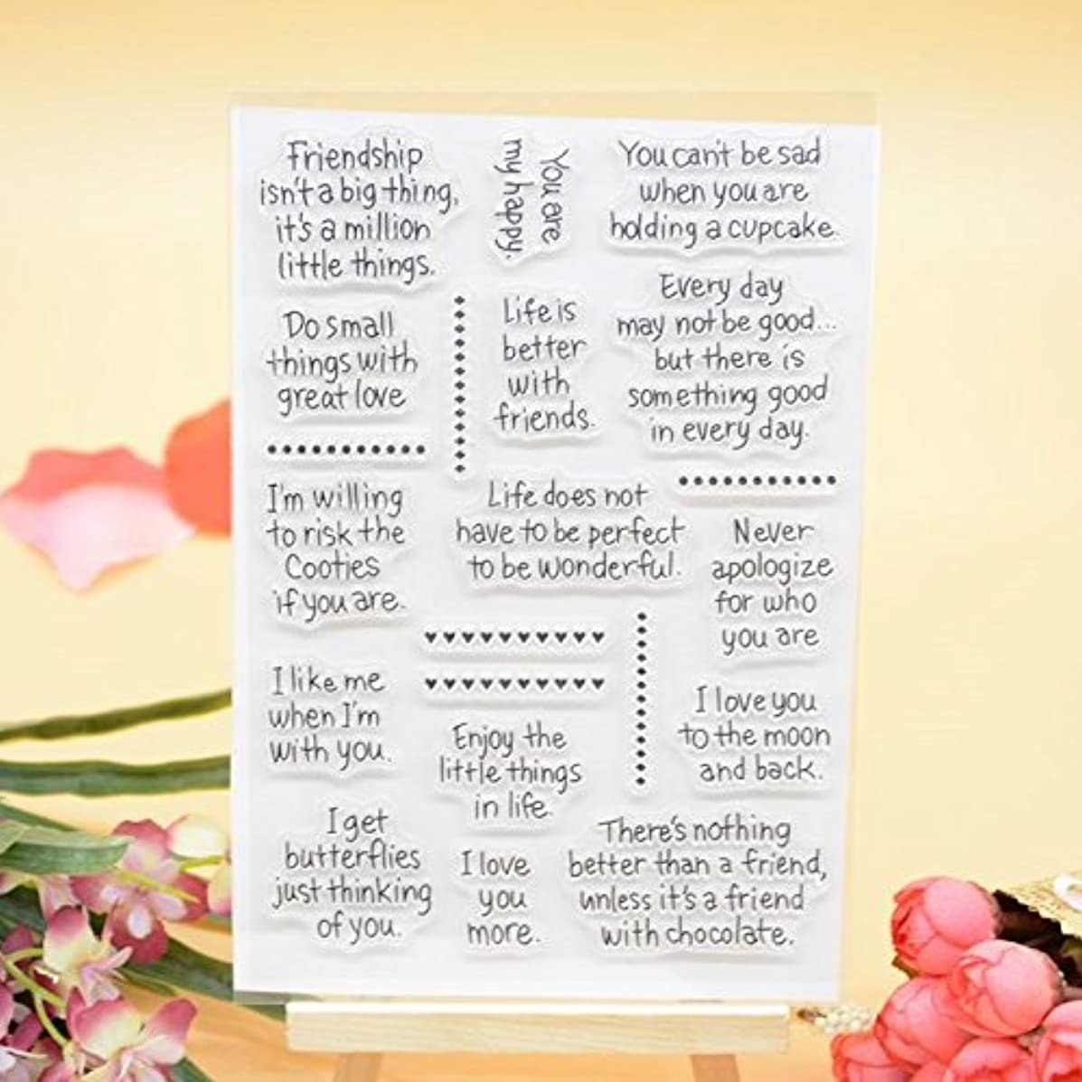 Welcome to Joyful Home 1pc Friendship Sentiment Clear Stamp for Card Making Decoration and Scrapbooking