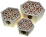 3 scatole di esaganolo Scatole di nidificazione Scrigno del tesoro (confezione da 3) Scatola del tesoro in legno Archiviazione decorativa vintage Artigianato in legno Regalo Scatole di legno