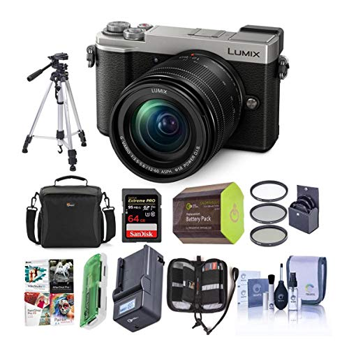 Panasonic Lumix DC-GX9 20.3MP Mirrorless Micro 4/3rd Digital Camera with 12-60mm F3.5-5.6 Lens, Silver - Bundle with Camera Bag, 64GB...